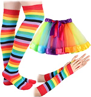 Poen Kid Rainbow Costume Set, Rainbow Long Fingerless Gloves Rainbow Knee Socks Rainbow Tutu Skirt for Theme Party Outfit Accessories, As the Picture Shows, One Size