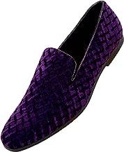Amali Fishman Men's Dress Shoes Plush Velvet with a Quilted Design Slip-on Driver Shoes for Men Velvet Loafers The Original Smoking Men Tuxedo Slipper Shoes