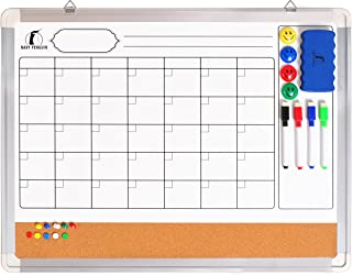 Whiteboard Monthly Wall Calendar Set - 24 x 18 inch Magnetic Dry Erase/Cork Board Planner with 1 Eraser, 4 Dry Wipe Markers, 4 Magnets and 10 Thumb Tacks - Small Hanging Framed White Bulletin Board