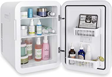Cooluli 20L Mini Fridge For Bedroom - Car, Office Desk & College Dorm Room - Glass Front & Digital Temperature Contro