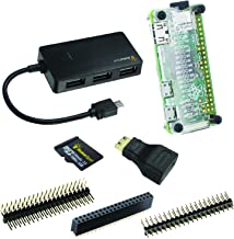 MakerSpot 7-in-1 Raspberry Pi Zero W Mega Pack (no PiZero Board) with 8GB Micro SD Card, 4-Port OTG USB Hub, Pin Headers, Mini HDMI Adapter, Transparent Acrylic Protector Cover Case