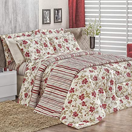 72366e0526 Edredom Solteiro Malha Estampado Dupla Face 1 Peça Top Line - Floral  Vermelho