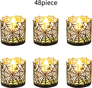 Halloween Laser Cut Candle Holder Black Spiderweb Candle Wraps Votive Tea Light Decorative Wraps for Halloween Party Supplies(48 Pieces)
