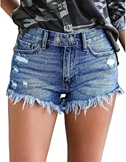 SUNTEAMO Denim Shorts Women Summer 2021 Casual Multi-Button Jeans Ripped Fringed Shorts with Pockets