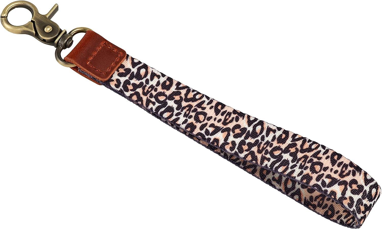 Cute Keychain Wrist Lanyard Key Wristlet Bracelet Leather for Women