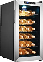 Electro Boss 18 Bottle Wine Cooler Thermoelectric Stainless-Steel Fridge for Red or White, Digital Display, Reversible Glass Door, Model #5330, Silver