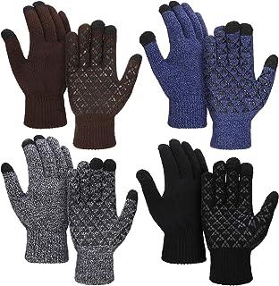 4 Pairs Winter Knit Touchscreen Gloves Windproof Anti-slip Mittens for Women Men