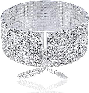 JANEFASHIONS 10-Row Clear Austrian Crystal Rhinestone Choker Necklace Silver Party WED N088 (10 Row Silver)