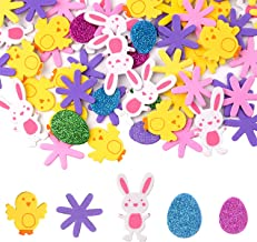 TUPARKA 160 Pcs Easter Foam Stickers Animal Shape Self Adhesive Easter Stickers Glitter Egg Stickers for Easter Day Party ...