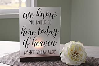 234Tiffany Memorial Candle Holder Wedding Memorial Heaven Memorial We Know You Would Be Here Today Acrylic Sign Wedding Luminary Sign