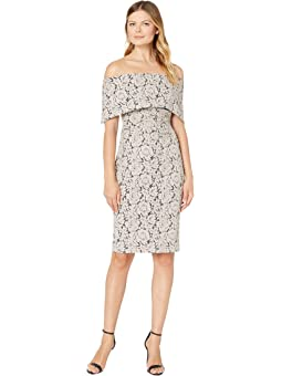VINCE CAMUTO Womens Bell Sleeve Off The Shoulder Crepe Ponte Dress