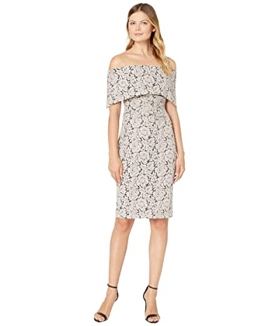 Vince Camuto Off-the-Shoulder Midi Dress with Collar and Side Tucks (Taupe) Women