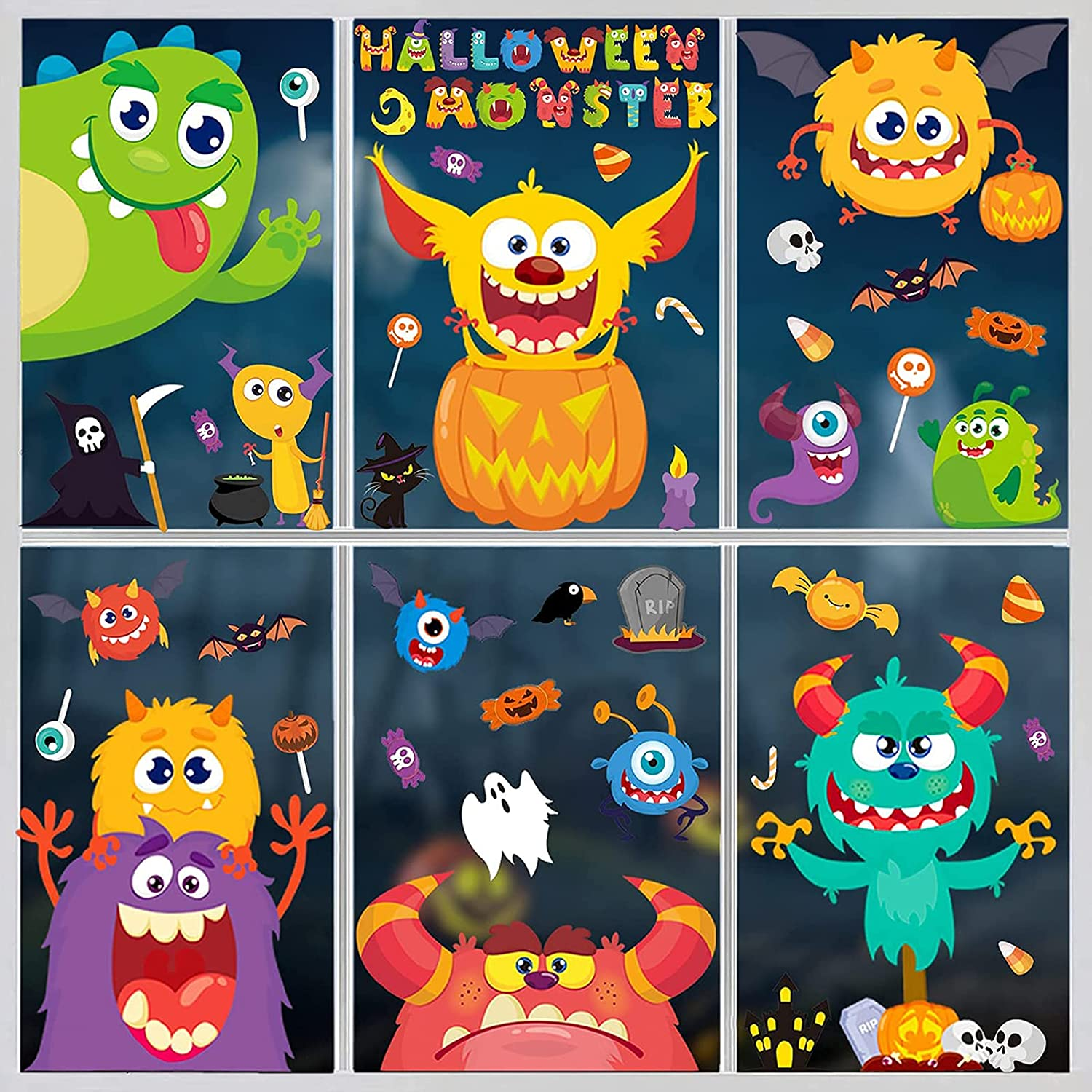 Max 81% OFF DERAYEE Halloween Window Clings Monster Large Sticker Fort Worth Mall