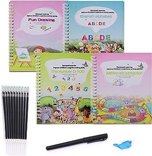 4 PCS Magic Practice Copybook, Reusable Magic Handwriting Copybook Magic Calligraphy Letter Drawing Mathematics Addition a...