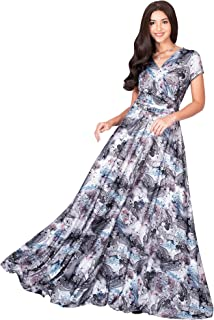 Womens Short Sleeves V-Neck Floral Flowy Elegant Casual Long Maxi Dress