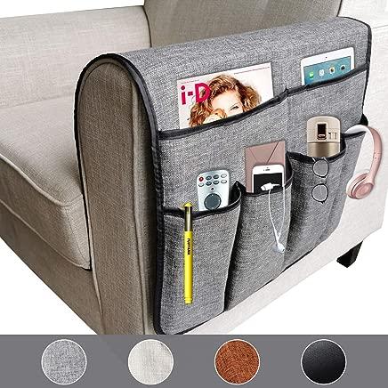 X-large Anti-slip Luxury Sofa Armrest Organizer Durable Soft Caddy Storage Organizer Holder, for Phone, Book, Magazines, TV Remote (Gray)