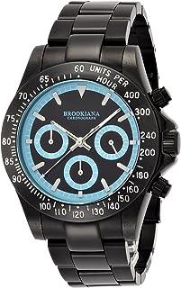 [ブルッキアーナ]BROOKIANA クロノグラフ 10気圧防水 ブルー×オールブラックメタル 腕時計 BA1701-BKBL メンズ 腕時計