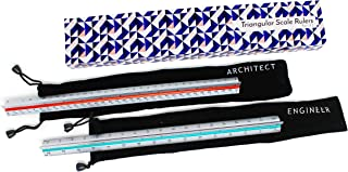 Architectural Scale Ruler for Blueprints and Engineering   Set of Two Aluminum Triangular Rulers - 1 Architect Imperial and 1 Engineer Scaled   Includes Protective Sleeves - 2 Pack