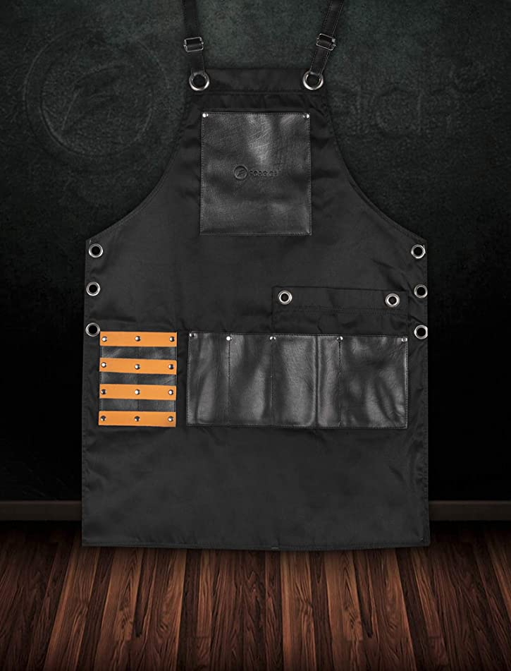 FORGICA Professional Leather Aprons for men Hairdressing Barber Apron Cape for Salon Hairstylist - Multi-use, Adjustable with 8 pockets - Heavy Duty Premium Quality Aprons For Women - NY Edition Black