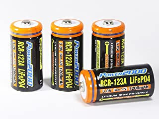 Power2000 CR-123A 4-Pack Rechargeable CR-123A LiFePO4 Batteries (not for Arlo)
