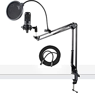Audio-Technica AT2035 Cardioid Studio Condenser Microphone with XLR Cable Knox Studio Stand and Pop Filter