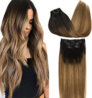 Googoo Remy Hair Extensions Clip in Human Hair Extensions Ombre Dark Brown Fading to Light Brown and Ash Blonde Ombre Clip in Extensions Balayage Hair Extensions 7pcs 120g 22 inch