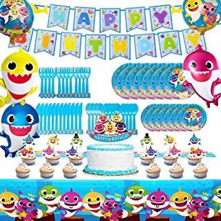 Shark Party Supplies for Baby, 82 pcs Birthday Decorations, Shark Theme Birthday Party Supplies for Kids, 10-Kids Shark Theme Party.