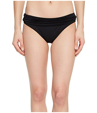 La Blanca Island Goddess Shirred Waist Hipster Bottom (Black) Women