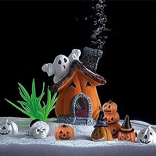 8 Pcs Halloween Pumpkin Figurines Decorations, Aquarium Cucurbita Decoration, Pumpkin House Fish Tank Bubbler, Resin Craft...