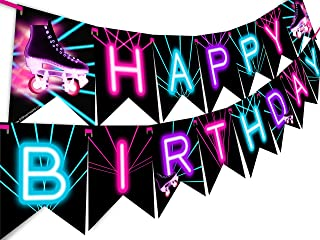Roller Skating Glow Rainbow Happy Birthday Banner Pennant - Roller Skating Party Supplies - Roller Skating Party Decorations - Glow