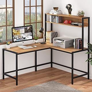 Tribesigns Bureau d'ordinateur en forme de L avec étagère de rangement, grand espace d'écriture (érable)