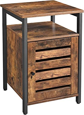 VASAGLE End Table, Nightstand with Open Shelf, Inner Adjustable Shelf, Metal Frame, 15.7 x 15.7 x 23.6 Inches, Living Room Bedroom, Industrial Style, Rustic Brown ULET62BX
