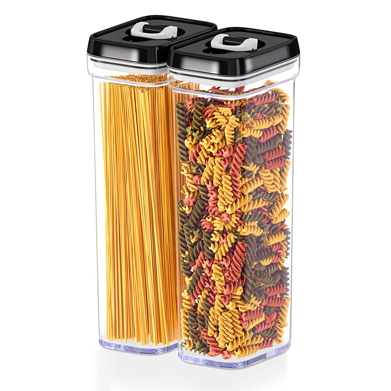 DW?LLZA KITCHEN Airtight Food Storage Containers with Lids – Same Size 2 Piece Set - Tall Air Tight Pantry & Kitchen Clear Container for Spaghetti Noodle and Pasta - Keeps it Fresh & Dry