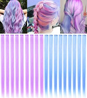 ECOCHARMS 20 Pieces 21 Inch Colored Hair Extensions Clip In For Women Girls Hiar Accessories Wig Pieces Synthetic Purple B...