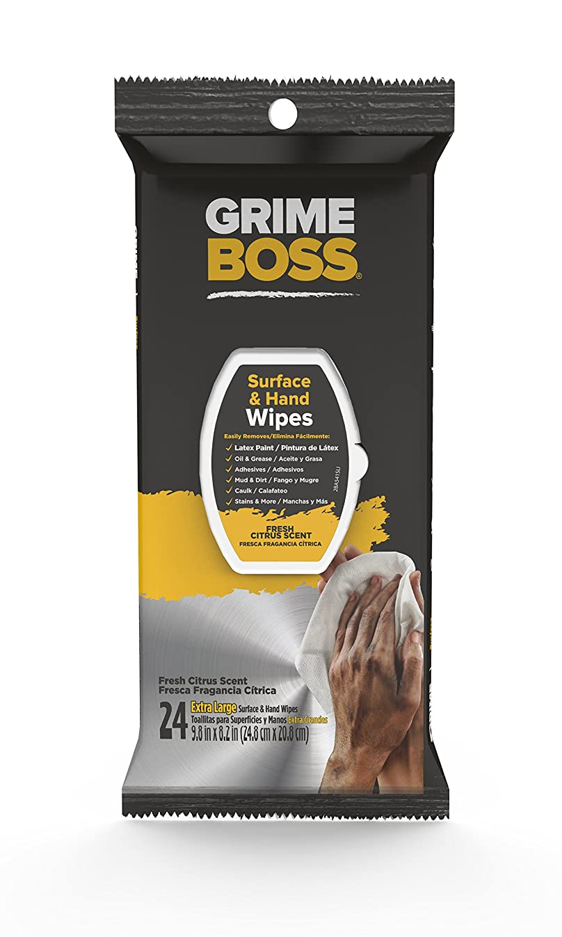 Grime Boss Heavy Duty Wipes Hands, Equipment, Garden, Auto, Camping, 24 Count
