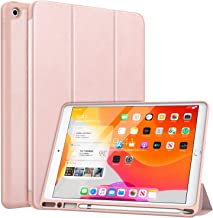 """MoKo Case Fit 2019 New iPad 10.2"""" with Apple Pencil Holder, Slim Lightweight Smart Shell Stand Cover Case Fit iPad 7th Gen 2019, Auto Wake/Sleep - Rose Gold"""