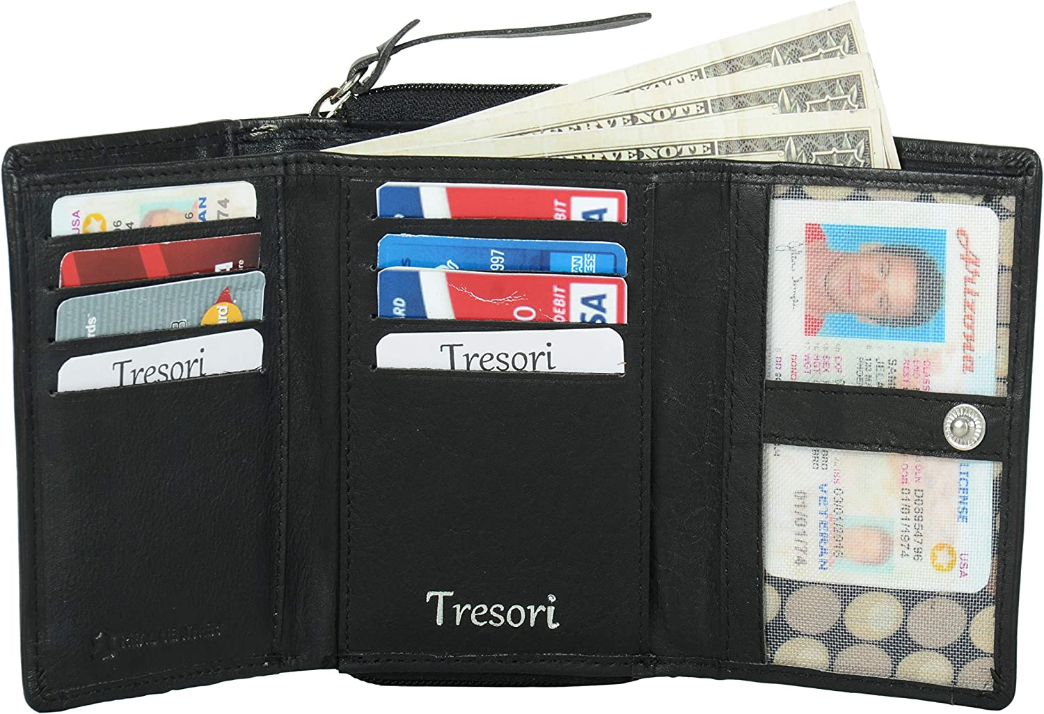 Tresori Cheap mail order specialty store Sales for sale Women's Real Leather RFID Data Multiple Protected Pocket