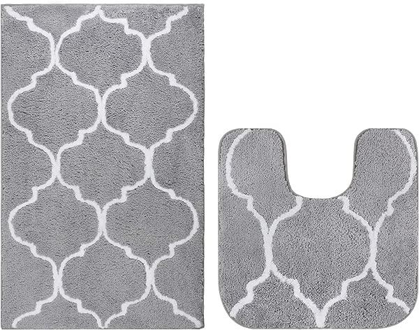 Homcomoda 2 Piece Bath Rugs Set Microfiber Washable Bath Mats With Contour Toilet Rug U Shaped For Bathroom Grey