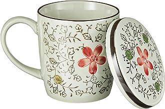 Ciya Red Blossom, Porcelain Mug W/Cover, 10Oz