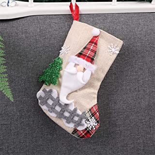 CapsA Mini Christmas Stockings Silverware Holder Pockets Gift Treat Card Bags with 3D Santa Snowman Reindeer Mantle Xmas Stocking for Christmas Decorations Party Favors