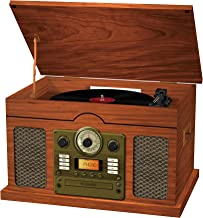 Sylvania Nostalgic 7 in 1 Wooden Turntable: Plays Vinyl, Bluetooth, CD, Cassette, AM/FM Radio, Aux-In, Records to CD