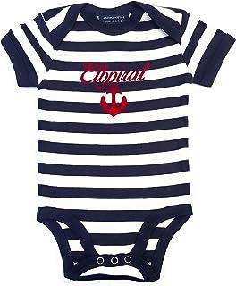 ebbeundflut Baby Body Elbirat, Anker - blau weiß gestreift - Fair Trade - Babystrampler von ebbeundflut