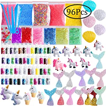 Slime Supplies Kit, Outee 96 Pack Slime Add Ins Fish Bowl Beads ...