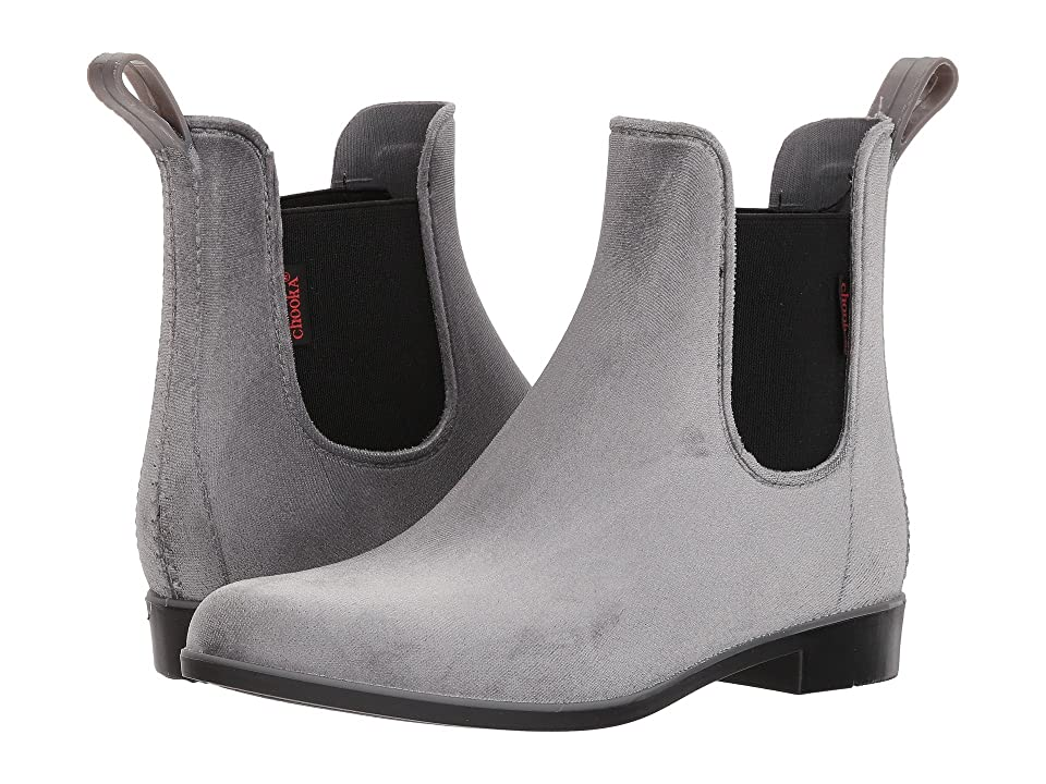 Chooka Vivien Velvet Chelsea Boot (Gray) Women
