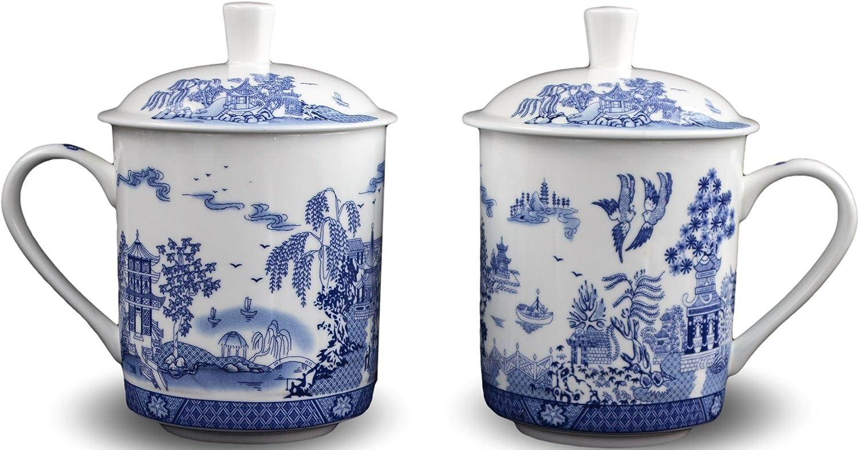 2 Bone China Max 49% OFF 14-ounce Tea Cups Coffee With Blu Mug Selling Scenery Lid