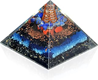 New Energy Generator Orgone Pyramid | Lapis Lazuli | Red Jasper | Shungite | Black Tourmaline Orgone Pyramid for EMF Prote...