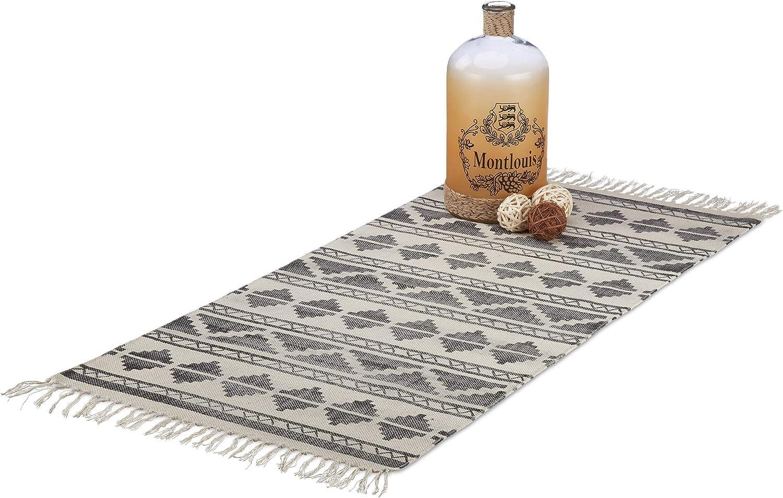 Relaxdays Teppichläufer mit mit mit Muster für Flur, Diele, Wohnzimmer, weicher Kurzflor Teppich groß in 70 x140 cm, schwarz B078XF3BVF d60916