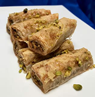 Pistachio Rolled Baklava Hand Made Traditional Greek Pastry