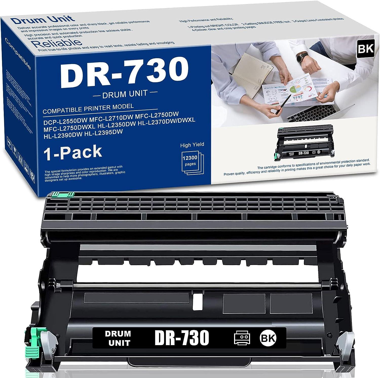 (1-Pack,Black) DR730 DR-730 Compatible Drum Unit Replacement for Brother DCP-L2550DW MFC-L2710DW L2750DWXL L2750DW HL- L2370DW L2395DW/DWXL L2350DW L2390DW Printer Drum Unit, Sold by NEODAYNET.