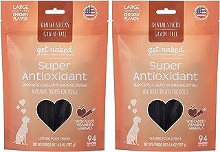 Get Naked (2 Pack) Grain Free 6.6 Ounce Super Antioxidant Dental Chew Sticks, Large